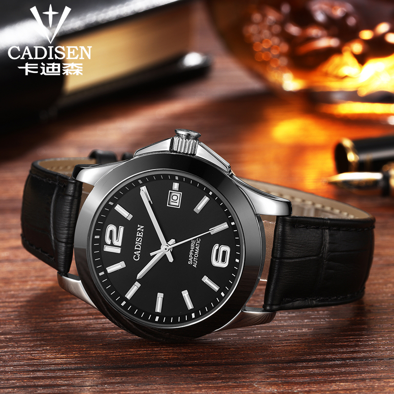 Image 4 - Mens Watches CADISEN Classic AUTO Date Automatic Mechanical Watch  Analog Skeleton Black Leather Man Black ceramic WristwatchMechanical  Watches