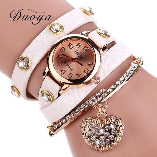 Rose Gold Watch Women Luxury Brand Fashion Heart Pendant Bracelet Wrisches Duoya Dress Quartz Xr357
