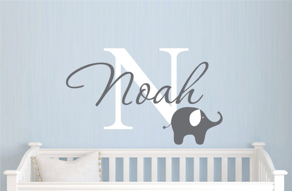 Childrens Name Elephant Wall Decal Boys