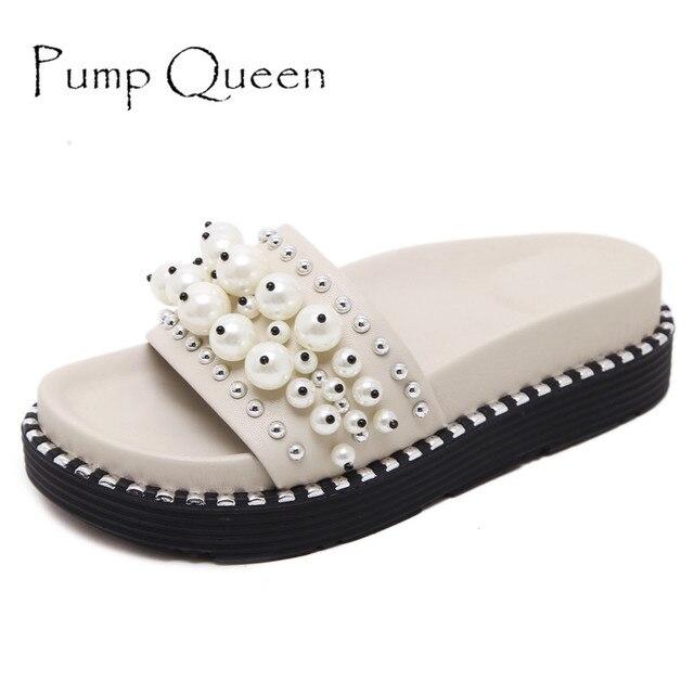Women Summer Flip Flops With Pearl Flats Beach Platform Shoes