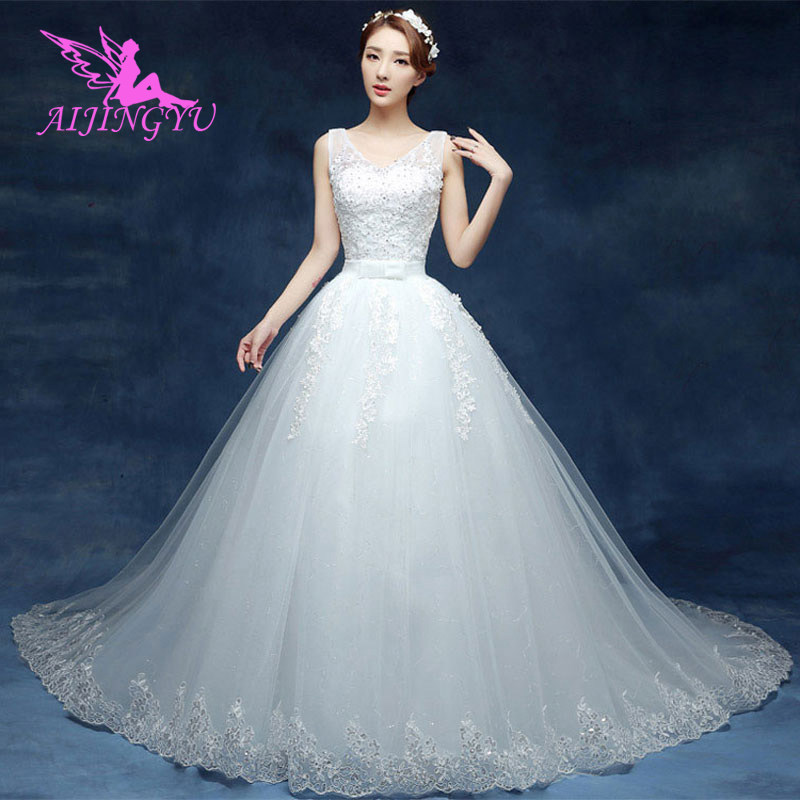AIJINGYU 2018 real photos free shipping new hot selling cheap ball gown lace up back formal bride dresses wedding dress WU199