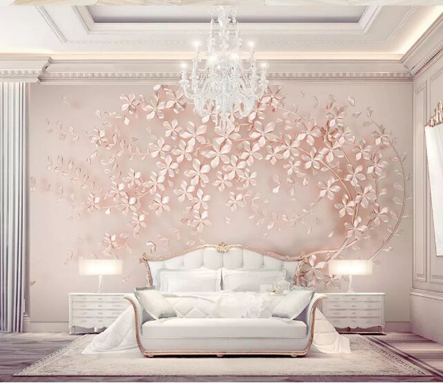 bacaz newest 8d luxurious elegance wall paper mural 3d rose gold