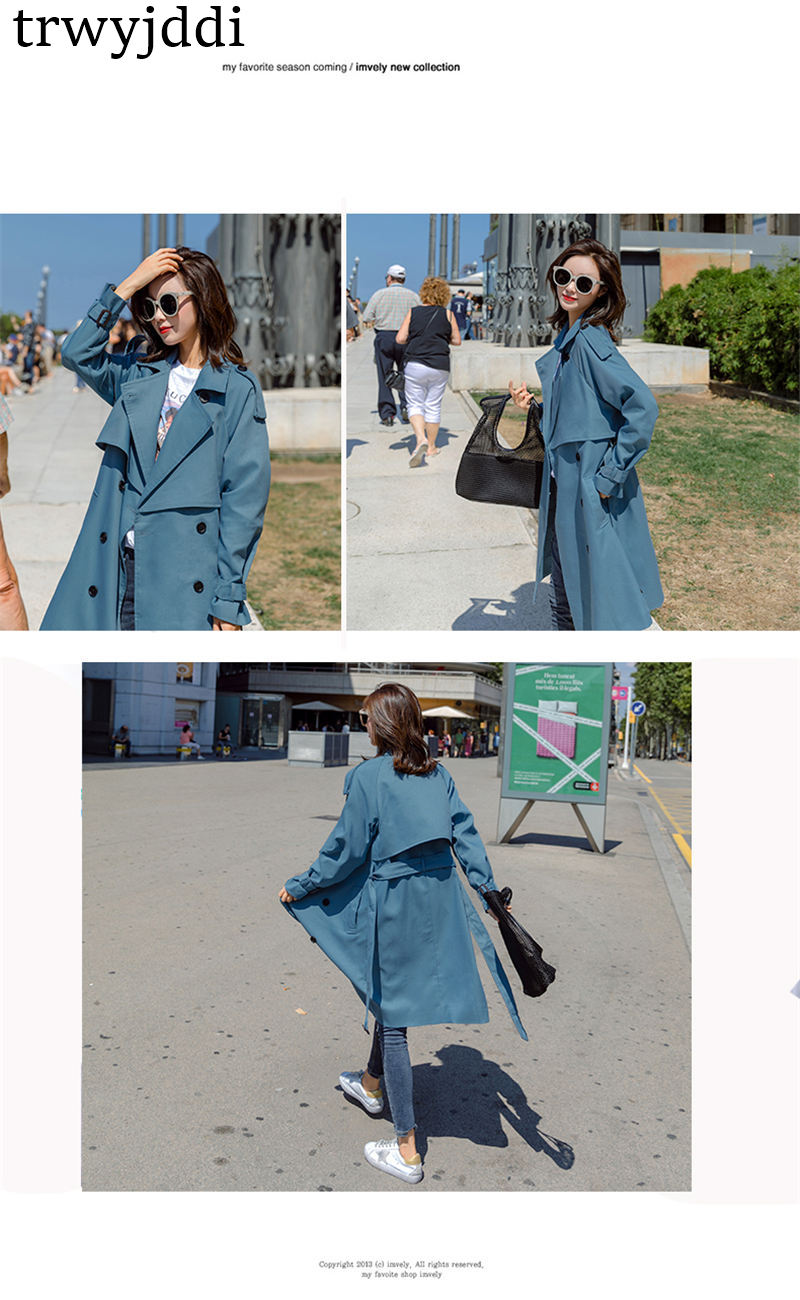 Fashion Windbreaker Coats Long section 19 New Spring Autumn Coat Women Trench Coats Korean Loose Casual Ladies Outerwear N402 3