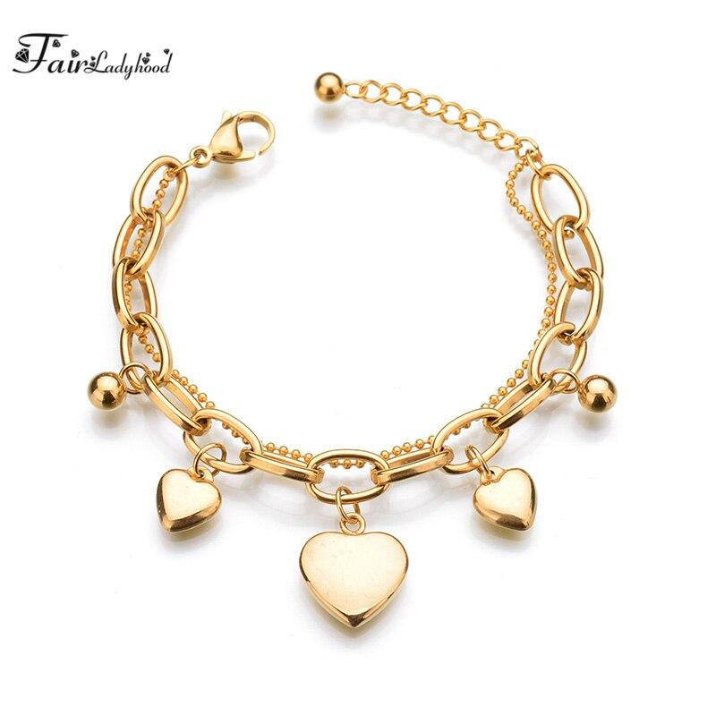ded16b2e55d1 Fairladyhoods moda de acero inoxidable amor pulsera de varios pisos corazón  forma Amuletos pulsera