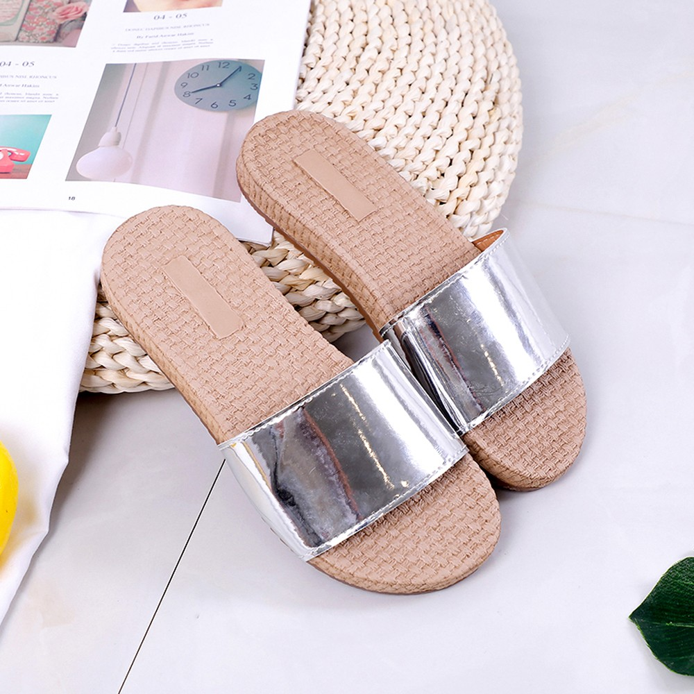Women Slippers Summer Beach Sandal Slippers Anti-skid Outdoor Straw Concise Ladies Casual Fashion Flats Shoes sapato feminino birkenstock summer arizona soft footbed leather sandal women shoes unisex shoes modis 802 slippers women slippers outdoor