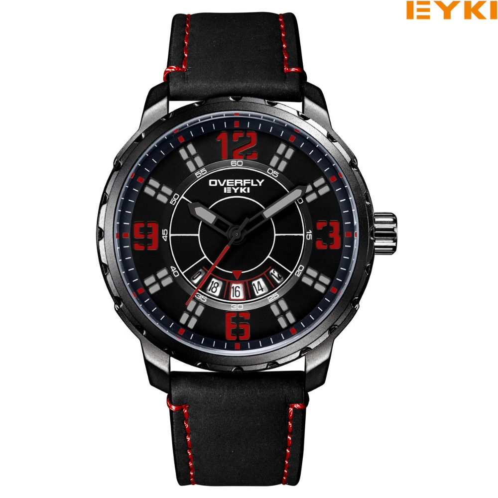 EYKI Men Brand Watches Quartz Casual Wristwatches Military Outdoor Sport Watches Male Leather Stap Clocks .Reloj
