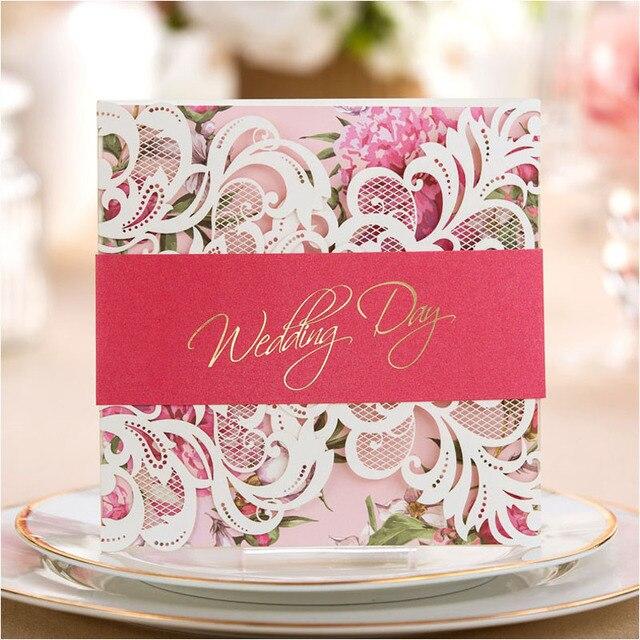 luxus flora hochzeitseinladungen lila rosa gr n laser cut. Black Bedroom Furniture Sets. Home Design Ideas