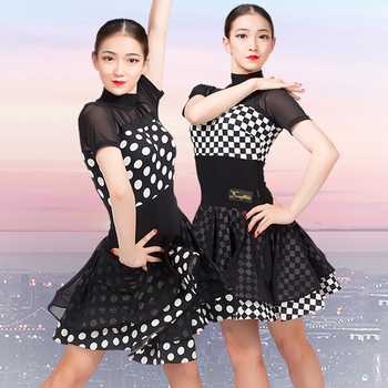 Latin Dance Dress Black Net Yarn Short Sleeve Tango Salsa Cha Cha Rumba Samba Dancing Clothes Ladies Practice Wear DNV11759