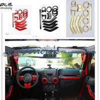 Free Shipping Interior Accessories Steering Wheel Vent Door Handle Trim Cover For Jeep Wrangler 4 Door