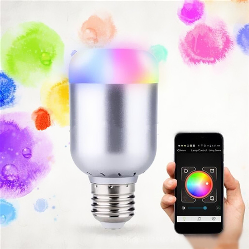 Dimmable E27 RGB LED Light Bulb Bluetooth 4.0 Lamp Wireless Smartphone Control Music Play Spotlight Bulbs Lighting AC100-240V smart light bulb e27 led rgb light wireless music bluetooth led lamp color changing bulb app control android ios smartphone