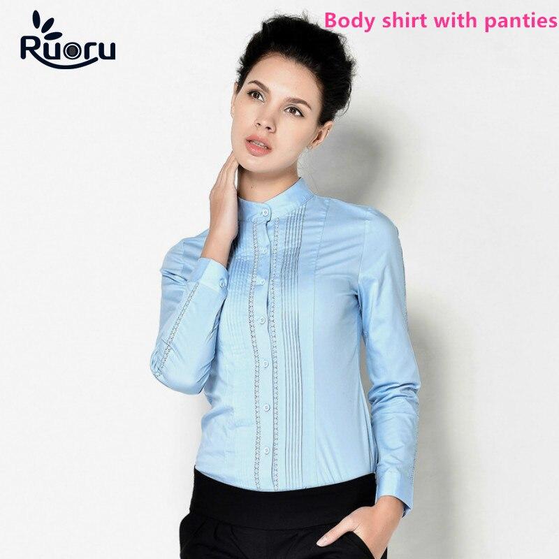 Ruoru Fashion Ladies Long Sleeve Body Shirt Women Formal Lace Patchwork White Blouse for Work Wear Women Body Female Tops