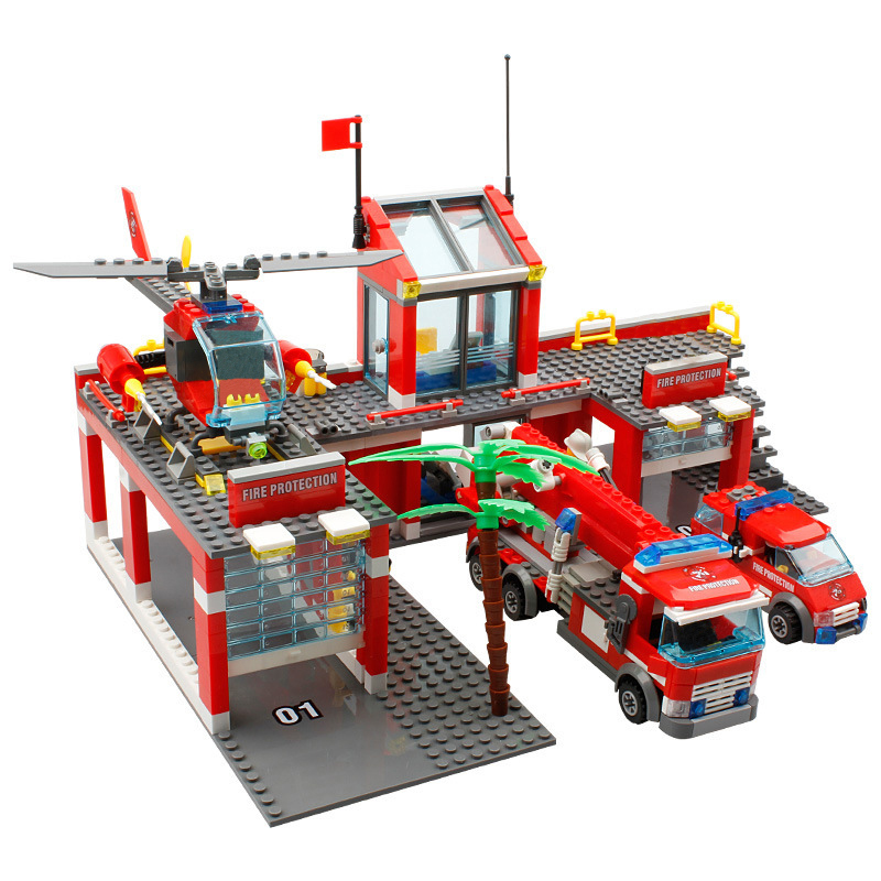 New City Fire Station Building Blocks DIY Educational Bricks Kids Toys compatible with legoe Blocks Best Kids Xmas Gift 8051 Toy 442pcs police station building blocks bricks educational helicopter toys compatible with legoe city birthday gift toy brinquedos