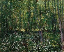 Claude Monet Oil Painting Canvas HD Print Trees Grass Flower Landscape Artwork Fashion Gift Wall Art for Living Room Decor Green