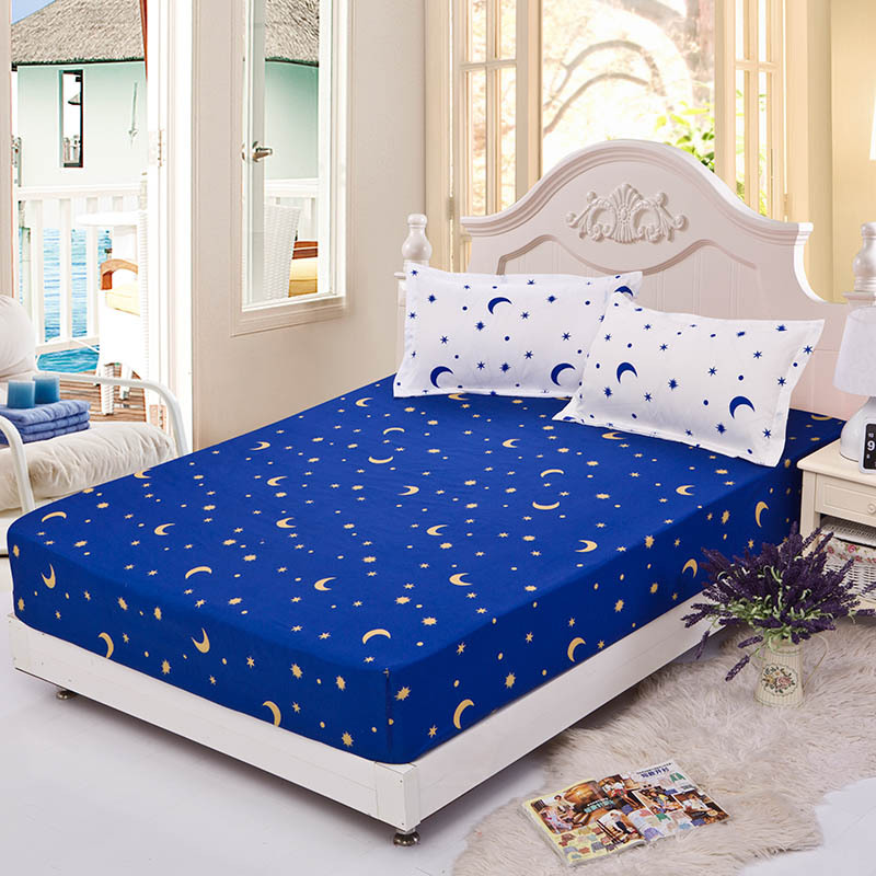 Moon Stars Printing Fitted Sheet With Elastic Band Bed Sheets Adult Mattress Cover 1pc Fitted Bed Sheet Only XF339-3