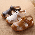 Kids beach sandals 2017 summer new fashion leather comfortable yellow boys and girls kids leather sandals children's water shoes