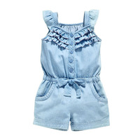 New 2018 Denim Blue Cotton Set Fashion Sleeveless Bow Knot Jumpsuit Ruffle Decorate Baby Girl Clothes