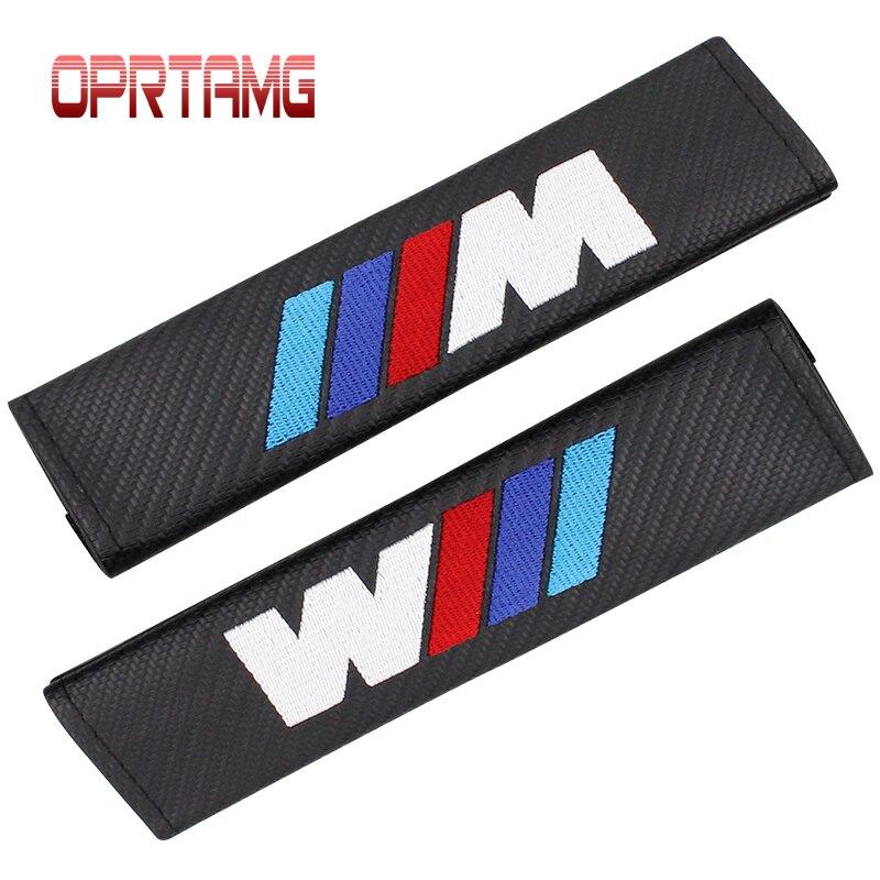 Car stying Carbon Fiber Cloth Car For BMW M Logo Shoulder Pad Sleeve Seat Safety Belt Cover For BMW E90 E91 E92 E53 E60 E46 E63