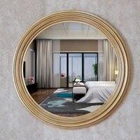 Диаметр 68 см Ретро Золотые декоративные зеркала Американский Роскошный Стиль Домашний Декор стены Ванная комната ТВ задний план зеркала