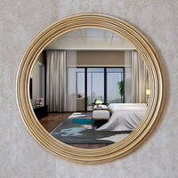 Diameter 68cm Retro golden decorative mirrors American luxury style home wall decor bathroom TV background mirrors