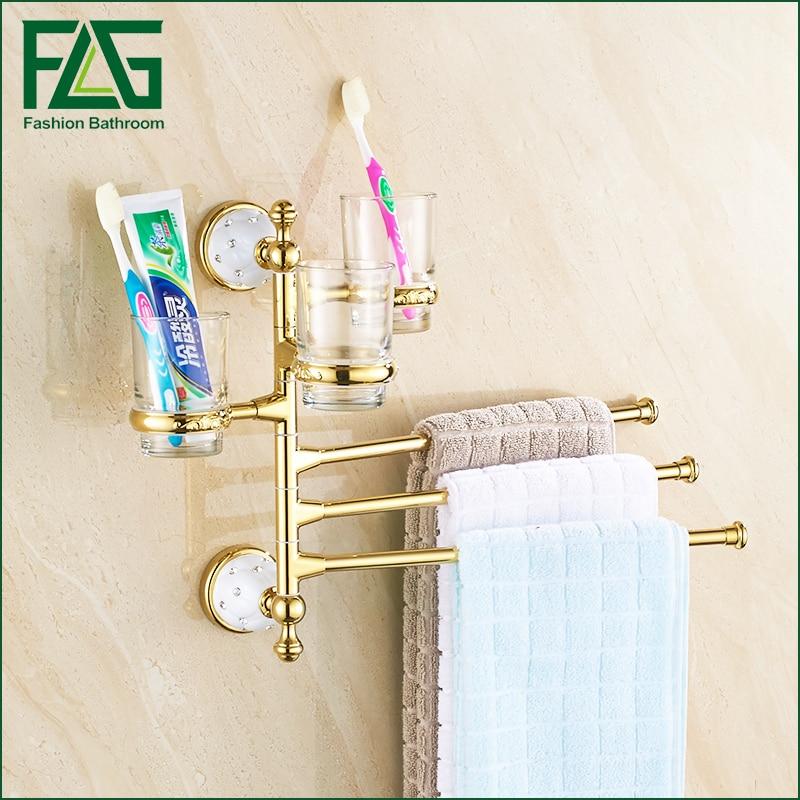 FLG Wall mounted Bathroom Accessories Rotating Towel Rack Toothbrush Holder Gold bath accessories Finish bathroom shelves towel flg bathroom accessories wall mounted tumbler holder cup