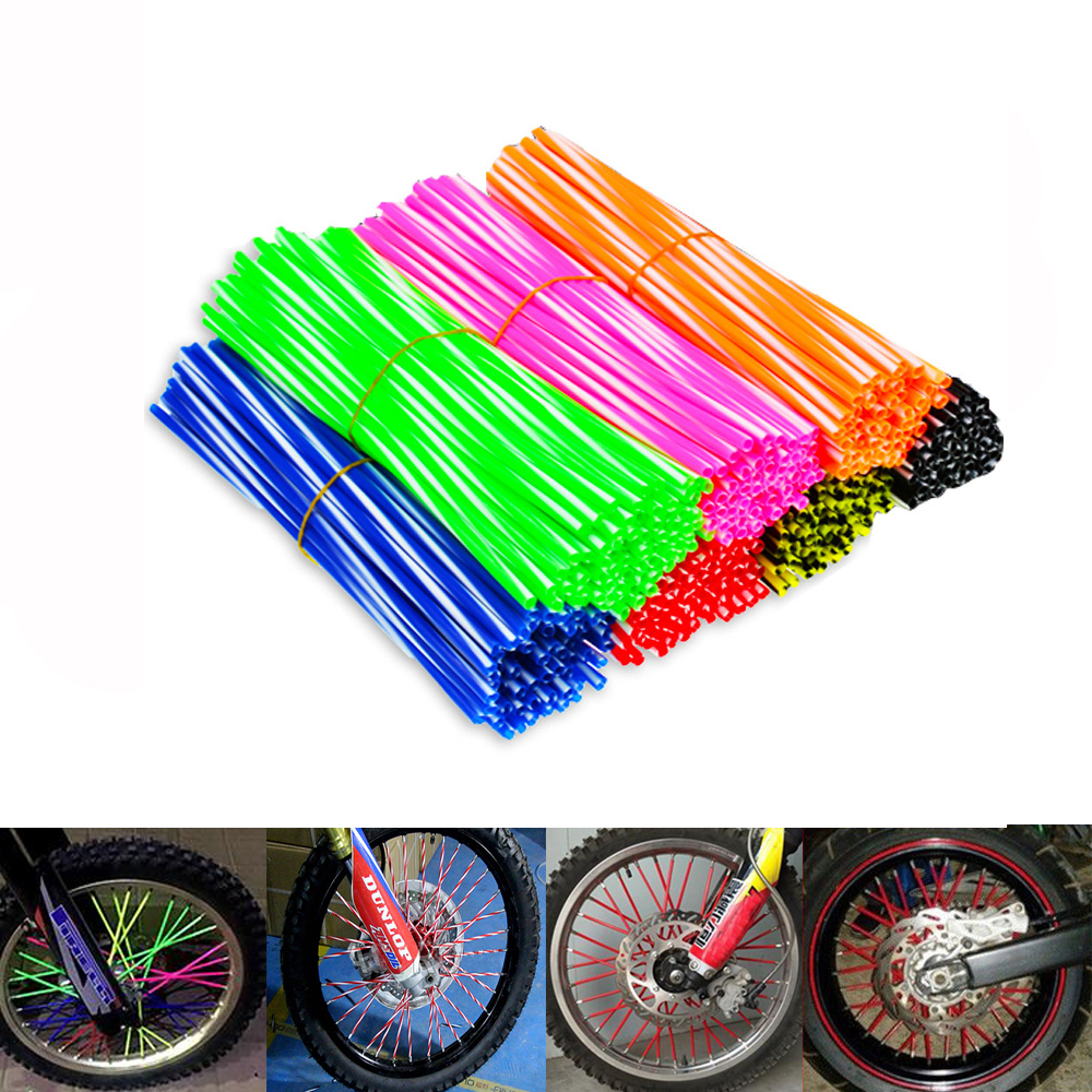 72 Pcs Universal Motorcycle Spoke Skins Covers Kit Motocross Wheel Rim Spoke Cover Off Road Motorcycle Skins Wraps Kit Orange Motorcycle Spoke Covers