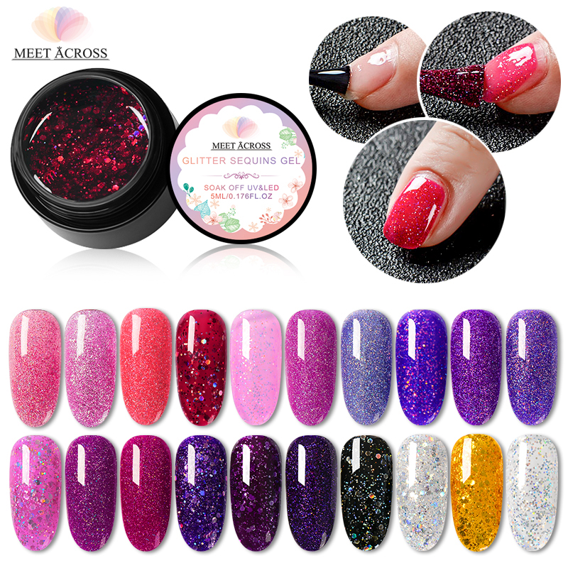 MEET ACROSS 5ml Holographic Nail Glitter Gel Polish Shiny Laser Sequin Pink Purple Color Soak Off Uv Art Varnish