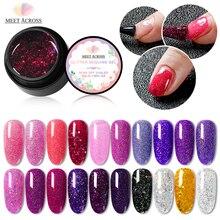 MEET ACROSS 5ml Holographic Nail Glitter Gel Polish Shiny Laser Sequin Pink Purple Color Soak Off Uv Art Varnish