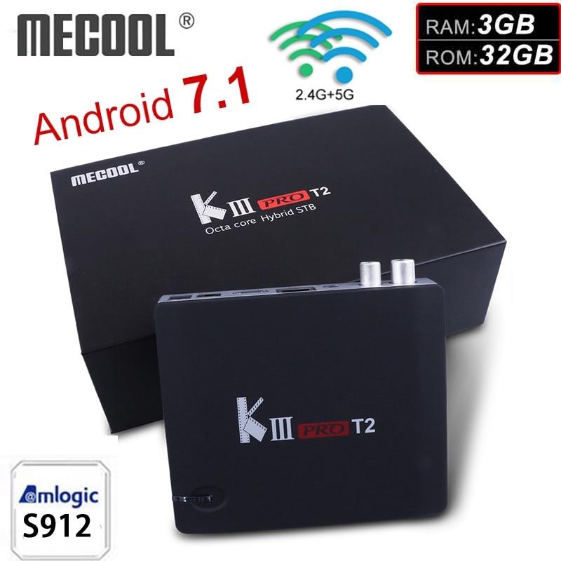 MECOOL DVB-T2 TV Boîte 3 GB 32 GO Android 7.1 Amlogic S912 Octa base 2.4G/5G WiFi 4 K 1000 M lecteur multimédia KIII PRO T2 boîtier de smart tv
