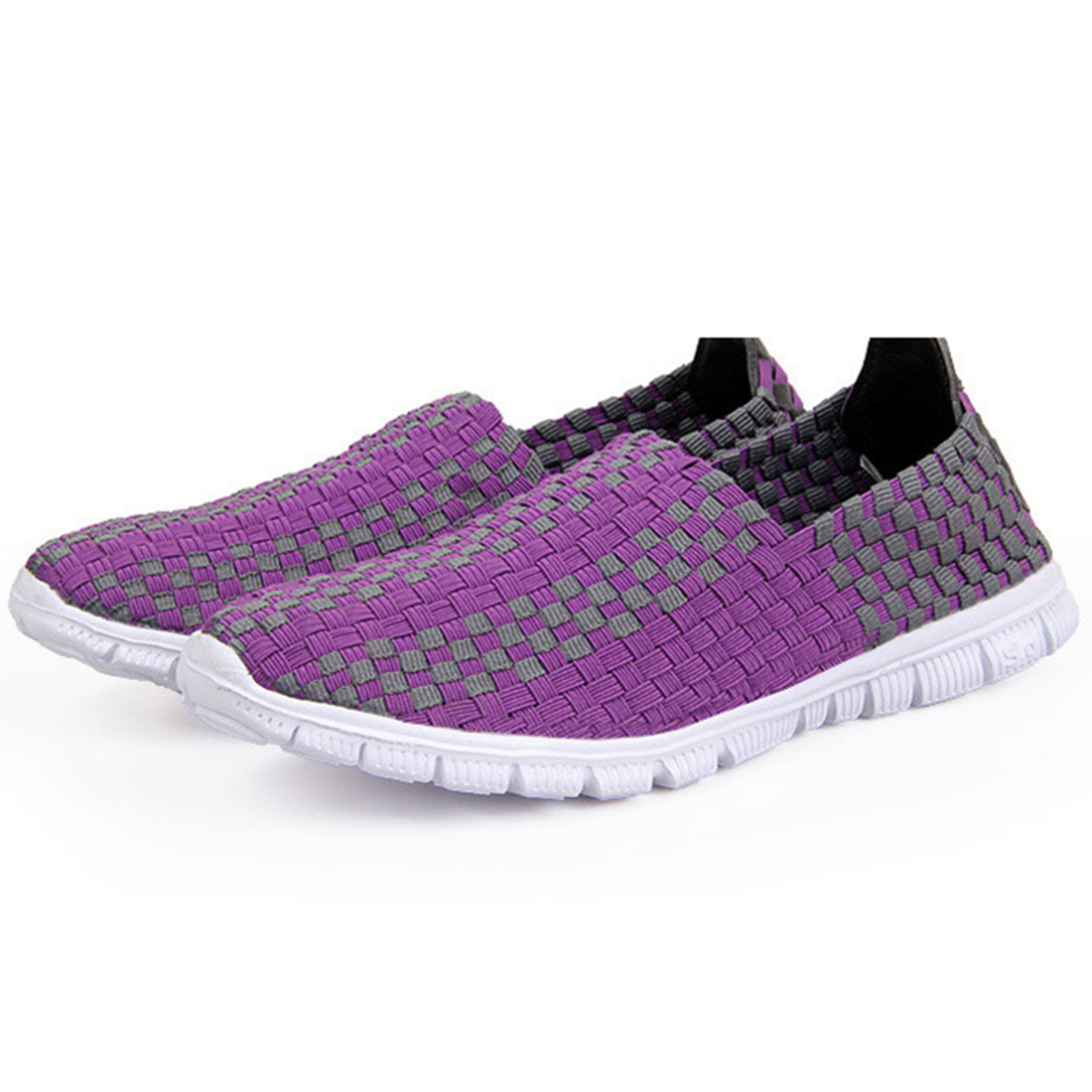 New Womens Lady Shape-Up Elastic Braided Walking Fitness Athletic Slip on Shoes