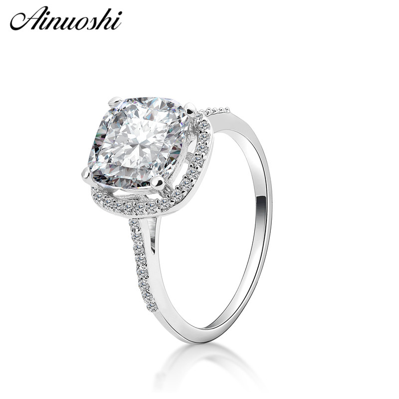 AINOUSHI Fashion 925 Sterling Silver Wedding Engagement Cushion Halo Ring Lady Silver Anniversary Party Ring Jewelry