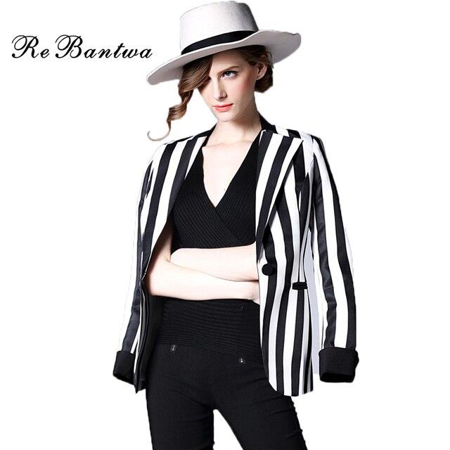 rebantwa blazer femmes 2016 noir et blanc rayures verticales blazer feminino unique bouton