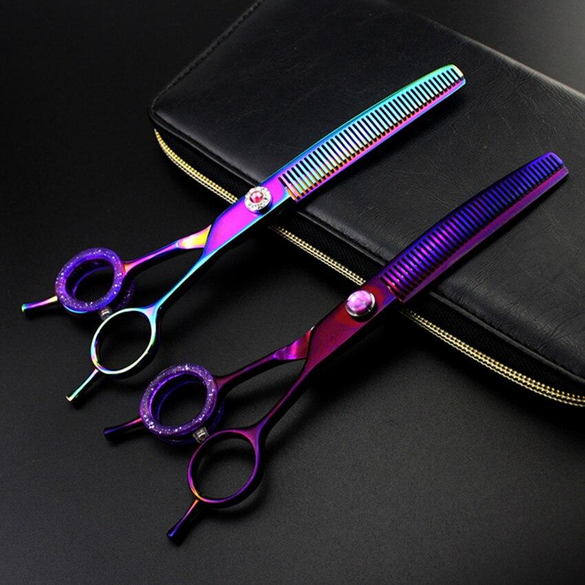 professional Upscale japan 9cr13 7 inch pet dog grooming hair scissors thinning salon shears berber tools