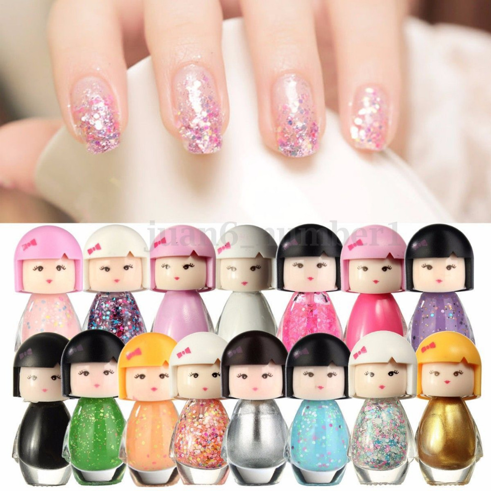 ALIVER 17colors New Fashion Cute Baby Doll Design Acrylic Neon Nail ...