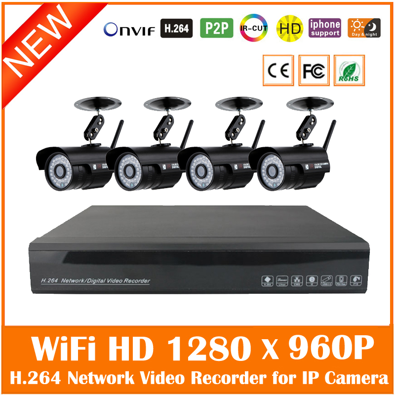 4ch Cctv System 960p Nvr 4pcs 1.3mp Ir Outdoor Wifi Bullet Ip Camera Wireless Security Surveillance Kit Waterproof Hot Sale 5 8g 1 0 mp 1 4 color cmos 4ch 720p wifi 1 nvr with 4 pcs waterproof ir bullet wireless ip camera wireless cctv system kit