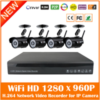 4ch Cctv System 960p Nvr 4pcs 1.3mp Ir Outdoor Wifi Bullet Ip Camera Wireless Security Surveillance Kit Waterproof Hot Sale