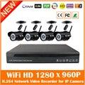 Sistema de Cctv 4ch 960 p Nvr 4 pcs 1.3mp Wifi Ir Ao Ar Livre Bala Ip Camera Kit De Vigilância de Segurança Sem Fio À Prova D' Água Venda quente