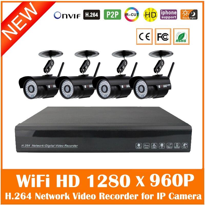 Système de vidéosurveillance 4ch 960 p Nvr 4 pièces 1.3mp Ir extérieur Wifi caméra Ip balle sans fil Kit de Surveillance de sécurité offre spéciale étanche