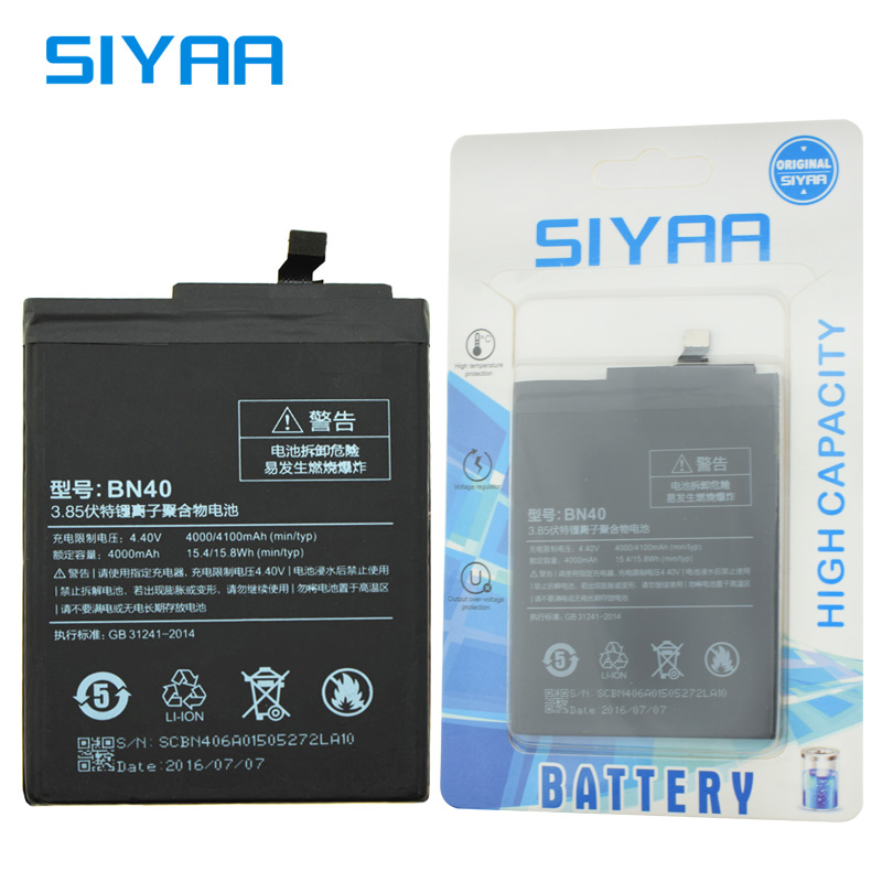 SIYAA Origina Battery BN40 For Xiaomi Redmi 4 Pro Prime Hongmi 4Pro High Quality 4100mAh Replacement Lithium Polymer Batteries