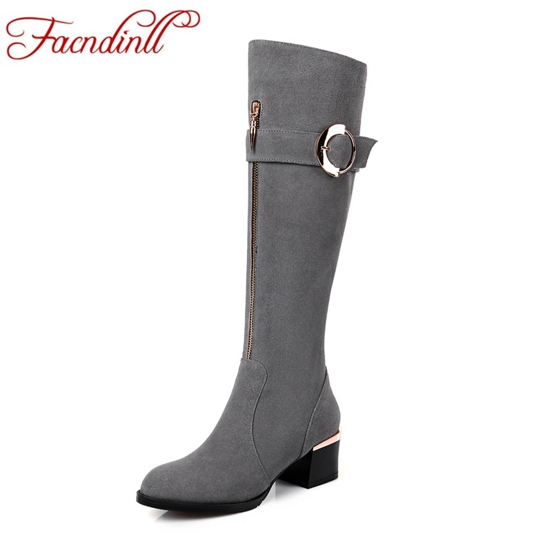 FACNDINLL fashion women shoes autumn winter long boots nubuck real leather square heel pointed toe zipper black knee high boots