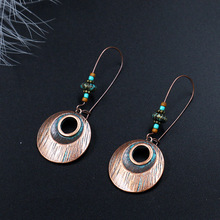 Ethnic Bohemian Copper Round Beads Drop Dangle Statement Earrings for Women Antique Fringing Wholesale
