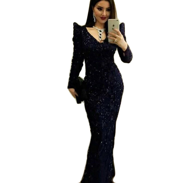 Elegant Long Black Prom Dresses Sexy V Neck Long Sleeves Sequins Straight Evening  Party Dress 2018 Plus Size Women Gala Dress a858e4724