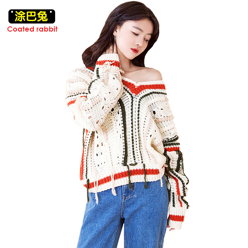 CR Cotton Knitted Sweater Women 2017 Winter Long Sleeve V-Neck Patchwork Tassel Pullover Tops Casual Jumper Sweaters