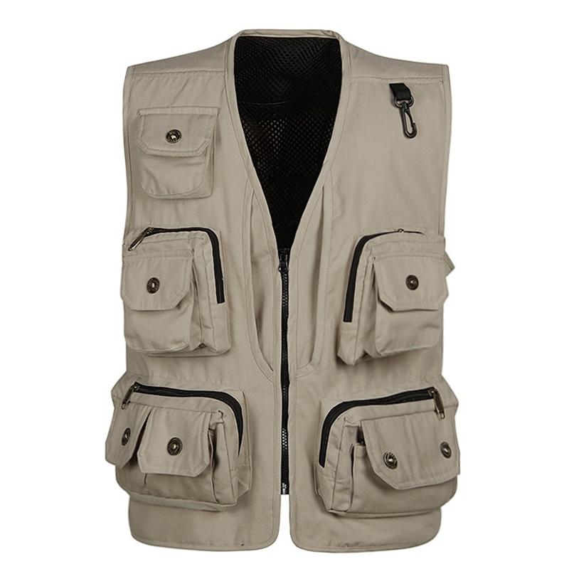 Fashion Vests For Men Wholesale Men's Multi pocket Photography Vest Men Casual Reporter Director Military