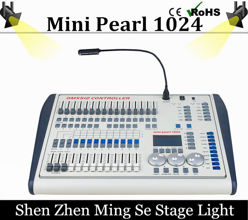 Mini Pearl 1024 DMX Controller For Led Moving Light DMX Lighting Controller With FASE,WAVE DMX Controller Pearl 1024 Box dmx512 digital display 24ch dmx address controller dc5v 24v each ch max 3a 8 groups rgb controller