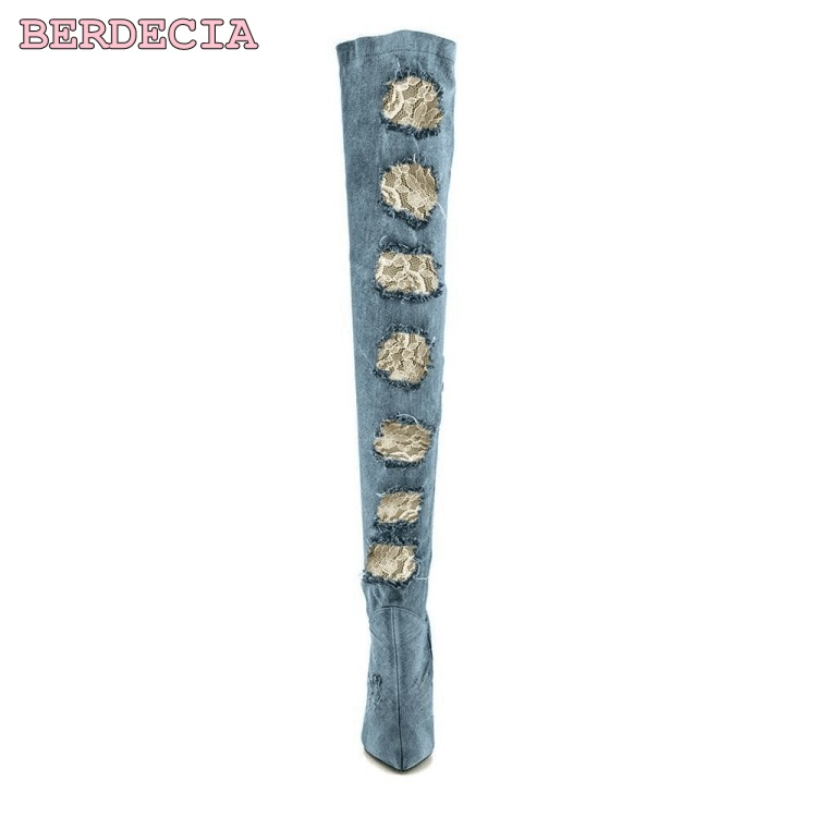 New fashion blue cut-outs denim over the knee long boots thigh high shoes pointed toe stiletto heels factory real photo