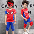 Boys Clothes Kids Spiderman Set Children Clothing Baby Boy Summer Sport Suit Cartoon Boys Tracksuit Shorts T Shirt+pants suit