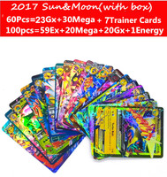 Hot Anime 60pcs 100pcs Sun Moon English Cards Figure GX EX Mega Cards Japan Charizard Cartes
