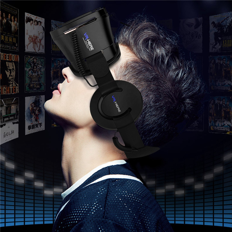 Super <font><b>VR</b></font> <font><b>Glasses</b></font> with Mobile Headphone Controller Virtual Reality Viewer for 3D Movie Video <font><b>VR</b></font> Lense+Helmet Set Great Gifts