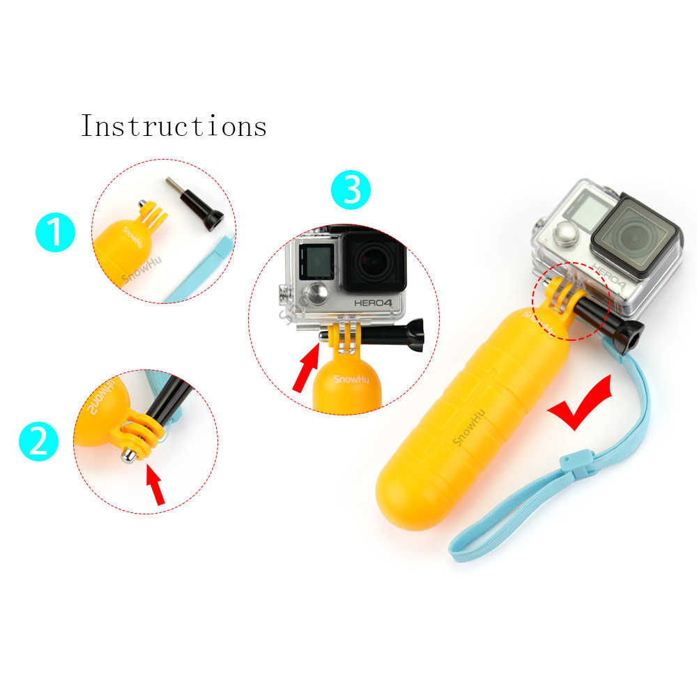 SnowHufor Go Pro Accessories Yellow Floating Grip Monopod Handle Tripod For Gopro Hero 7 6 5  for Xiaomi for Yi 4k for eken GP82