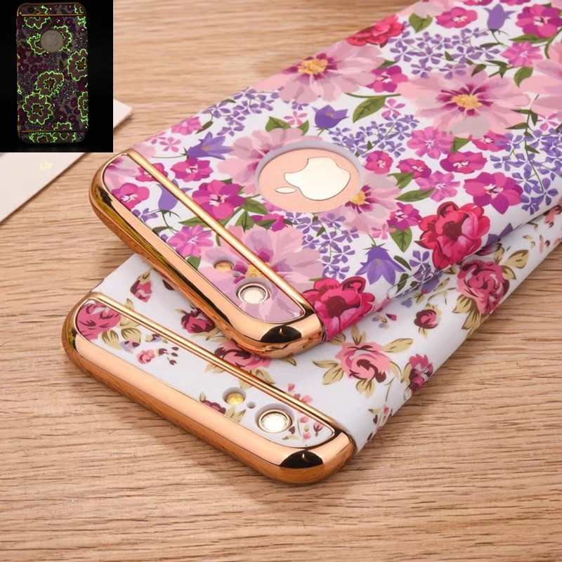 Für iPhone 7 Hülle Mode Luminous Floral Flower 360 Full Protection Hülle Für iPhone 6 6S 7 Plus 3 in 1 stoßfeste Handyhülle